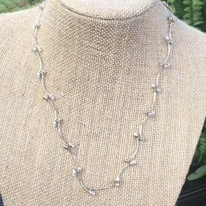 Dainty silver and pearl necklace